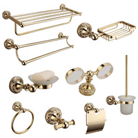 Wall mounted bathroom accessories antique gold polished robe hooks towel ring solid brass bathroom hardware set products