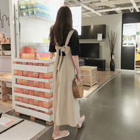 Vintage Cotton Linen Women Long Dress Japanese Mori Girl Fashion Bandage Suspender Dress Retro High Waist Female Overall Dresses