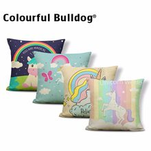 Colorful Lovely Unicorn Pillow Cover Pretty Rainbow High Heels Cute Balloon Cushion Cases Crown Happy Birthday Kid Room Decorate(China)