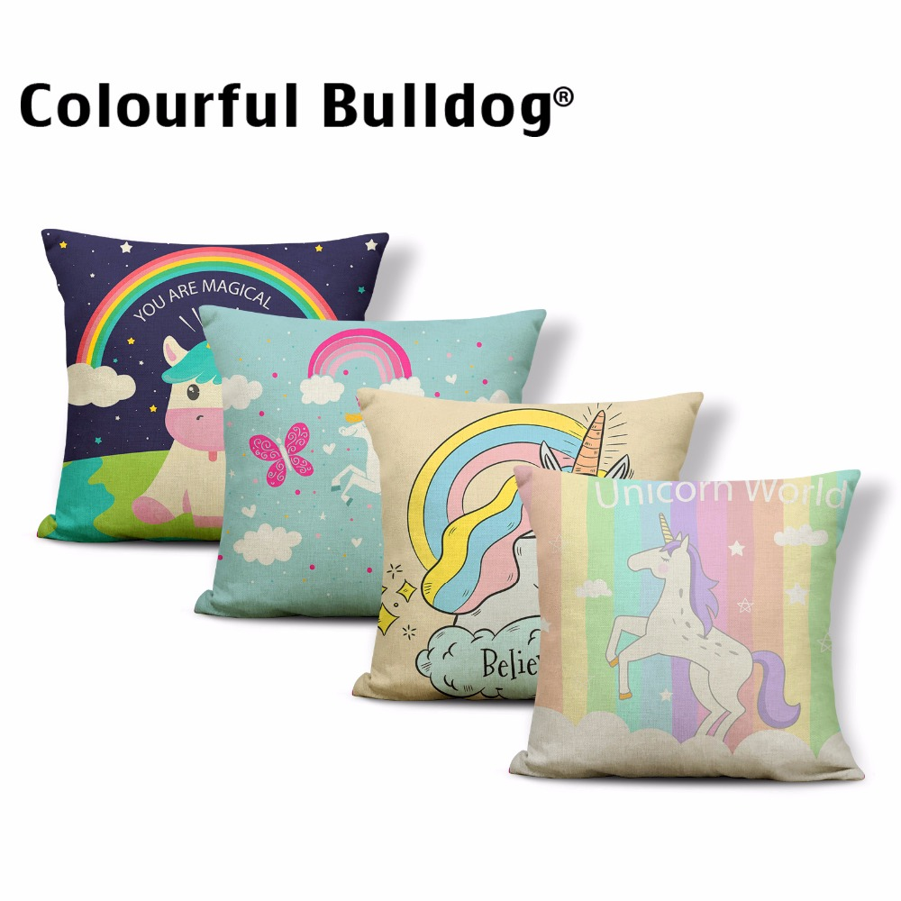 Colorful Lovely Unicorn Pillow Cover Pretty Rainbow High Heels Cute Balloon Cushion Cases Crown Happy Birthday Kid Room Decorate ...