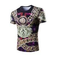 Fashion Chain Pattern 3D Print Men T Shirts 2017 New Casual Men T Shirt Short Sleeve