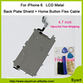 """10 pçs/lote new 4.7 """"placa traseira de metal escudo de ferro com placa traseira flex parte cabo/cabo flex botão home hot salefor iphone 6"""