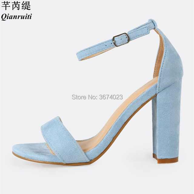 Qianruiti Ankle Strap Sandals Women Talons Block High Heels Suede Leather  Stilettos Open Toe Chunky Heels Party Dress Sandale 0b5807b80aa1