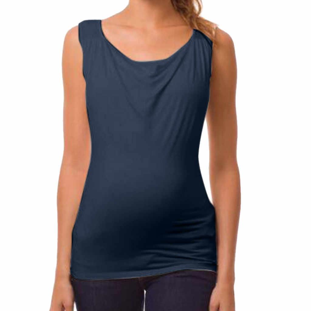 การตั้งครรภ์เสื้อผ้าสตรีลูกชิ้นการให้อาหาร Maternity เสื้อแขนกุดเสื้อกั๊กเสื้อผ้าที่เป็นของแข็งเสื้อ Maternity เสื้อ Lactancia Ropa 2020
