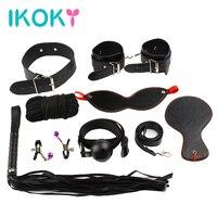 Ikokyセックスゲーム革8ボンデージキットセットハンド袖口ラケット鞭ロープマスクベッドフェチボンデージ縛りエロおもちゃカップルのた