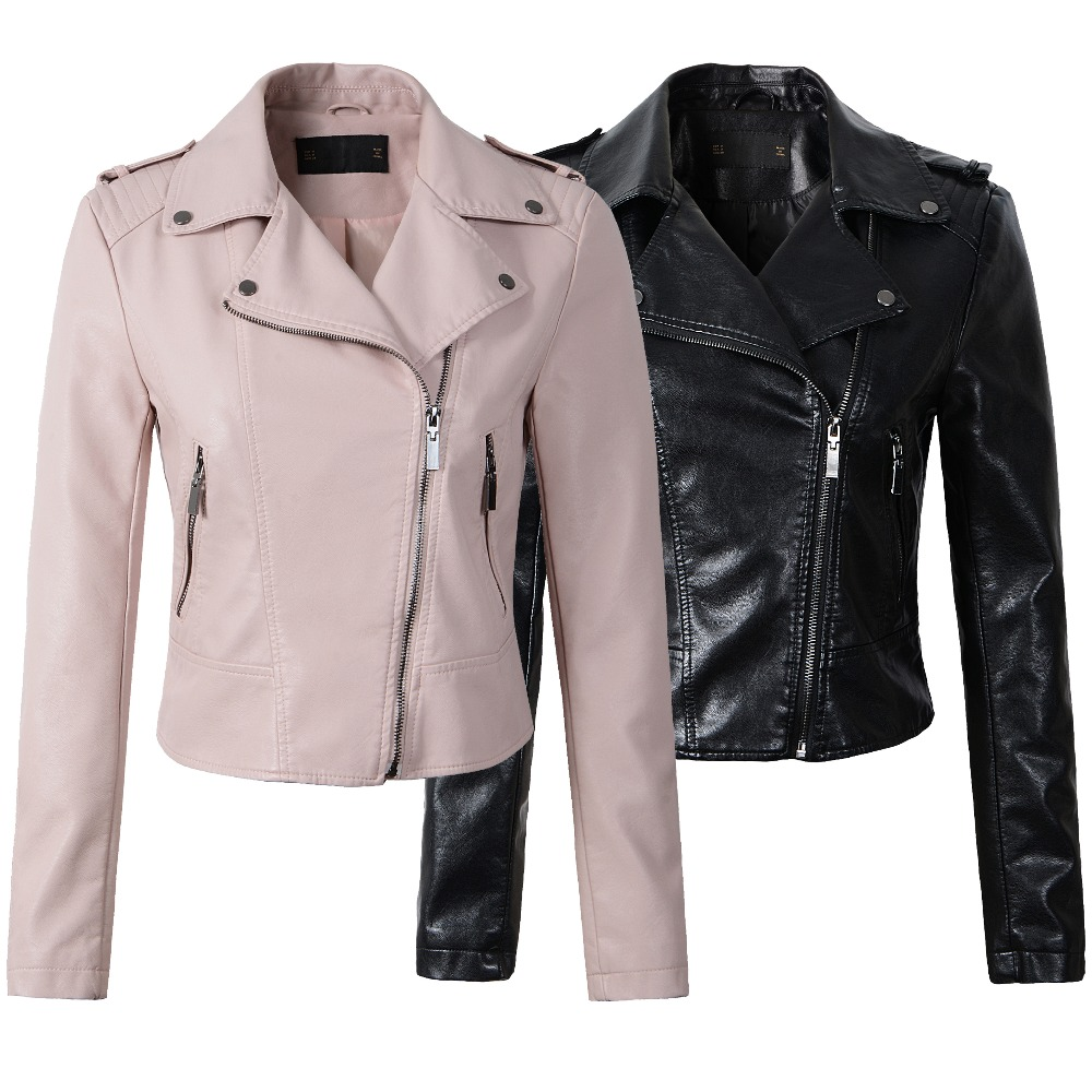 New Women pink faux   leather   motorcycle jackets chaquetas de cuero mujer Hot 2019 black casual fashion S- XL slim fit short coat