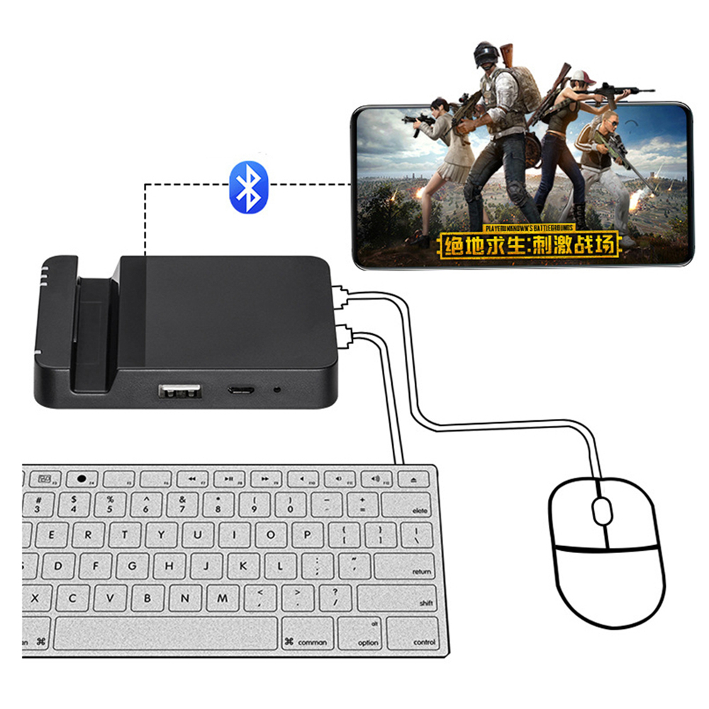 Keyboard Mouse Converter Adapter Dock For PUBG Mobile Game For Android System Bluetooth Connect