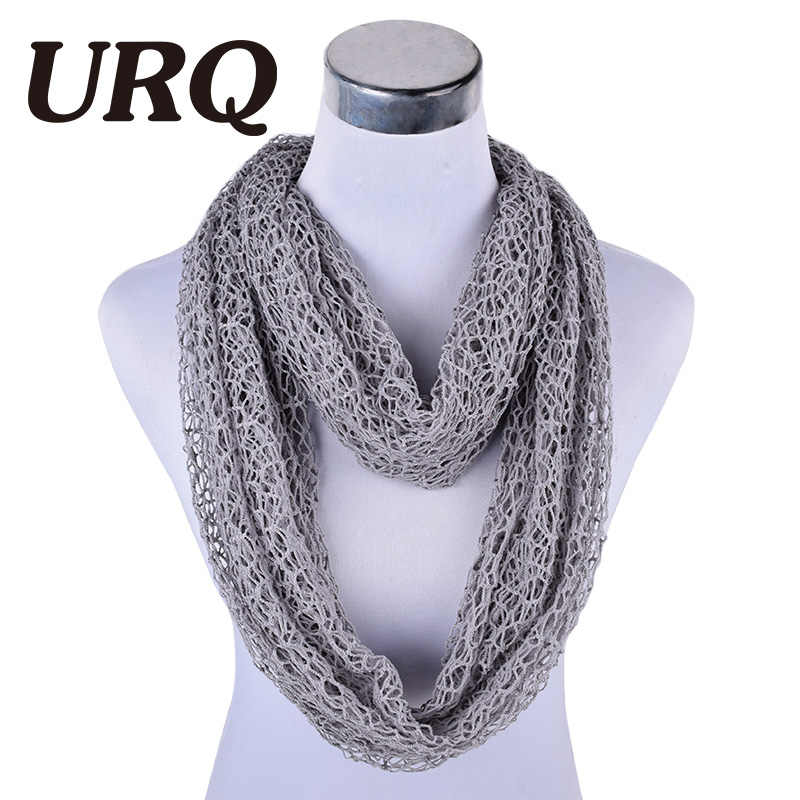 d57e070df8 ... [URQ] Women Ring Scarves Handmade Wraps Hollow Out Short Mesh Shawl  Cover Up Lady ...
