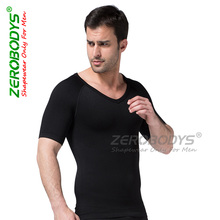 New Zerobodys Men Slimming Short Sleeve Underwear Body Shaper Weight Loss Undershirt for Men Fitness Chest Abdomen Shapewear