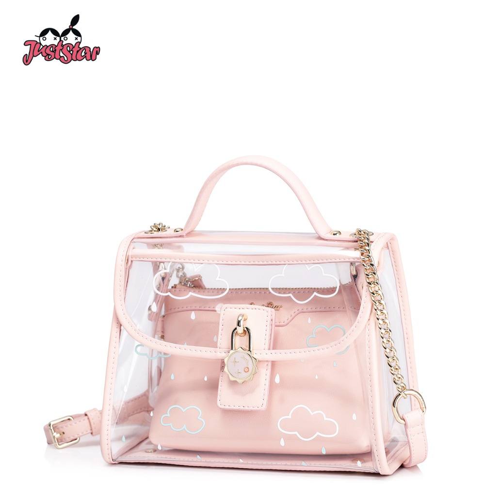 JUST STAR Women's PVC Waterproof Transparent Handbags Ladies Summer Beach Chains Purse Female Composite Messenger Bags JZ4443 star island summer