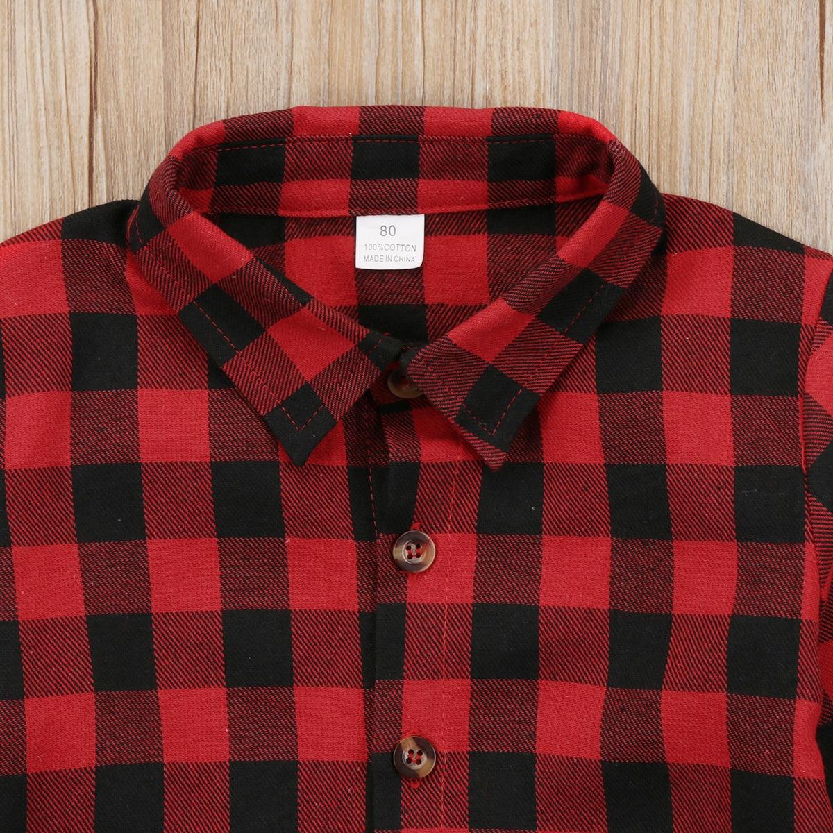 Boys Girls Long Sleeve Plaid Shirt Tops Kids Button Down Cotton Flannel Shirt