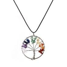 New Fashion Rainbow 7 Chakra Tree Of Life Quartz Pendant Necklaces For Women Wisdom Tree Natural Stone Rope Chokers Jewelry Gift
