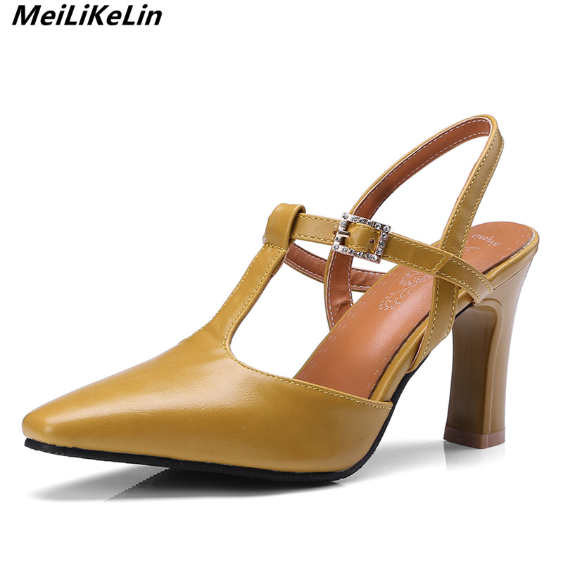 6c41384c7885 European style women T strap pumps female square toe thick heel mules sandals  woman high heels slippers shoes yellow big size 43-in Women s Pumps from  Shoes ...