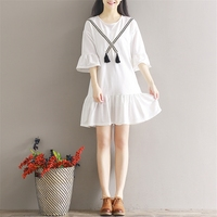 Office Dress Promotion Plus Size 2017 New Women's Lotus Dress Female Five Minutes Sleeve Collar Literary Small Fresh Spring