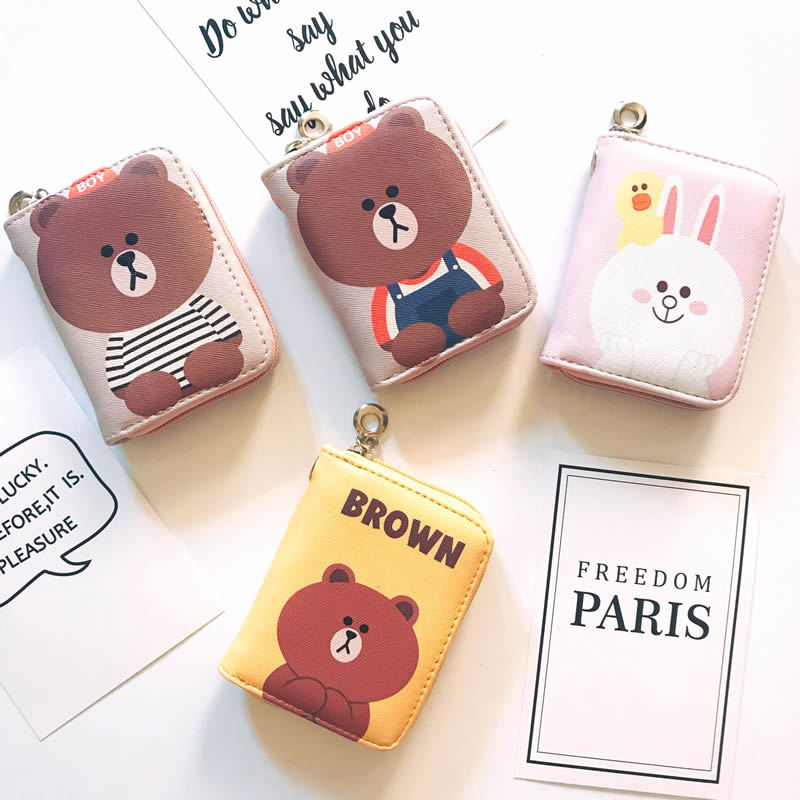 New Cartoon Brown Bear Zipper Wallet For Girl and Boy, PU Leather Fashion Design Wallet For Kids Money Bags Coin Purse 2016 new arriving pu leather short wallet the price is right and grand theft auto new fashion anime cartoon purse cool billfold