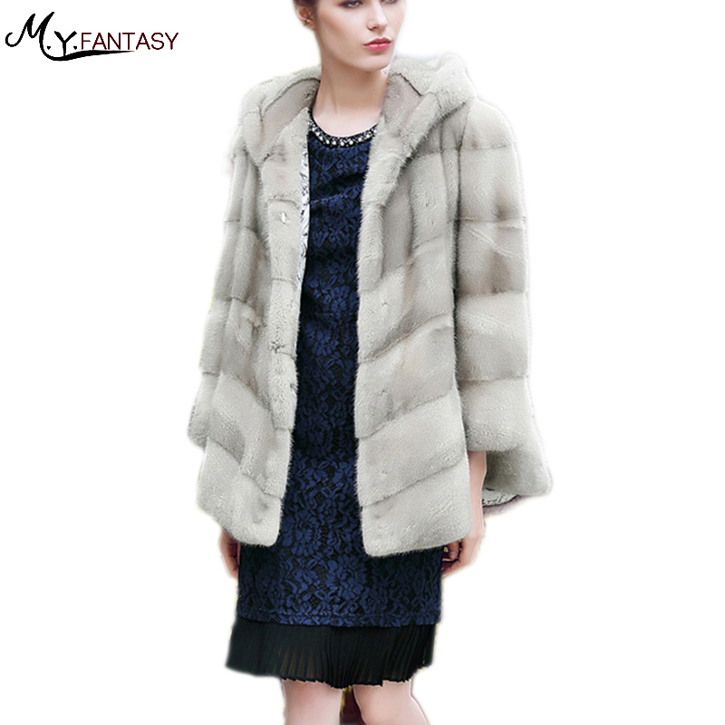 2017With Fur Trim Pocket Covered Butterfly Sleeve Coat Winter Pocket Genuine Fur Women's Real Fur Coats Women With Fur Trim Hood