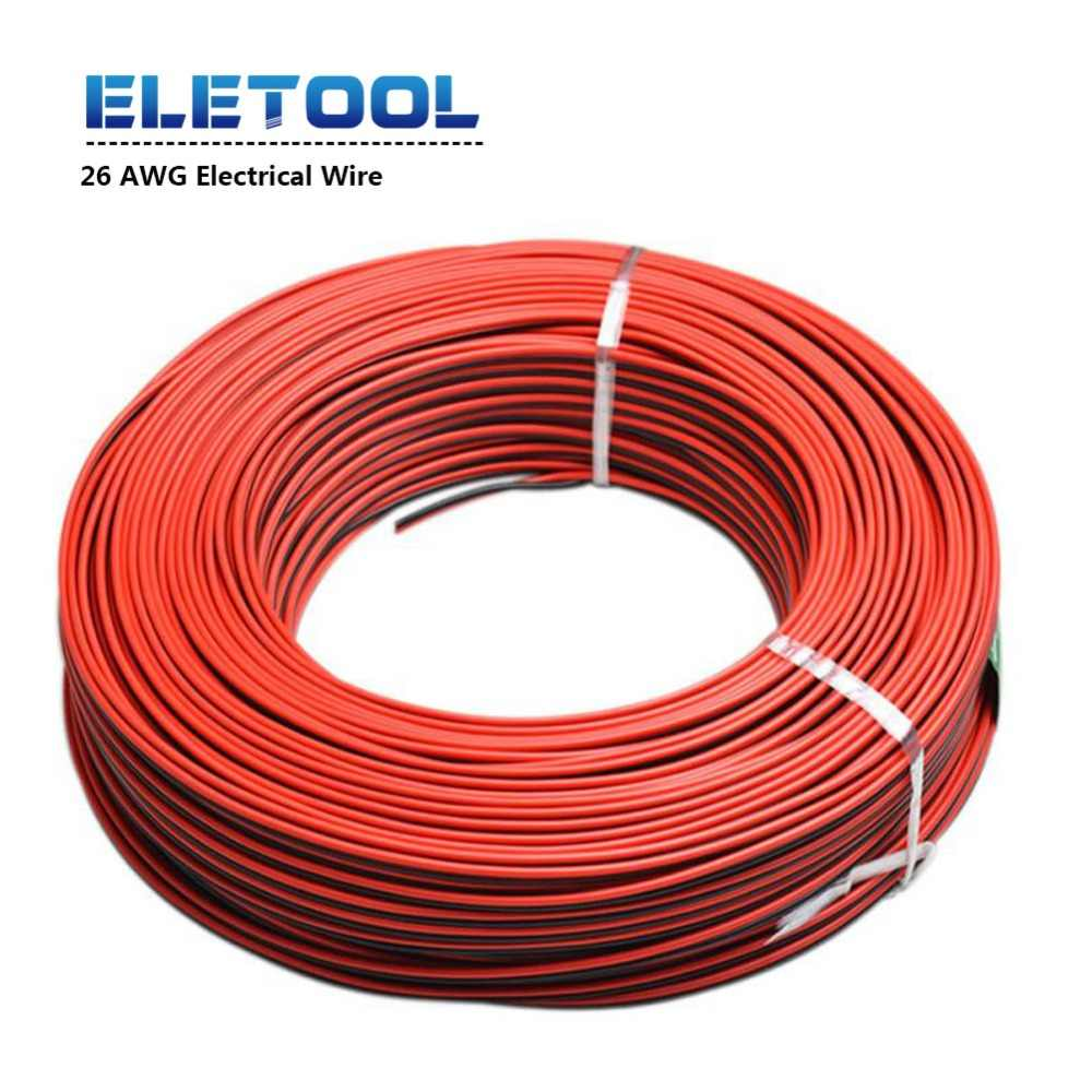 10m 26 AWG Electrical Wire Tinned Copper Insulated PVC Extension LED Strip Cable Red Black Wire National Standard 1007 pn34