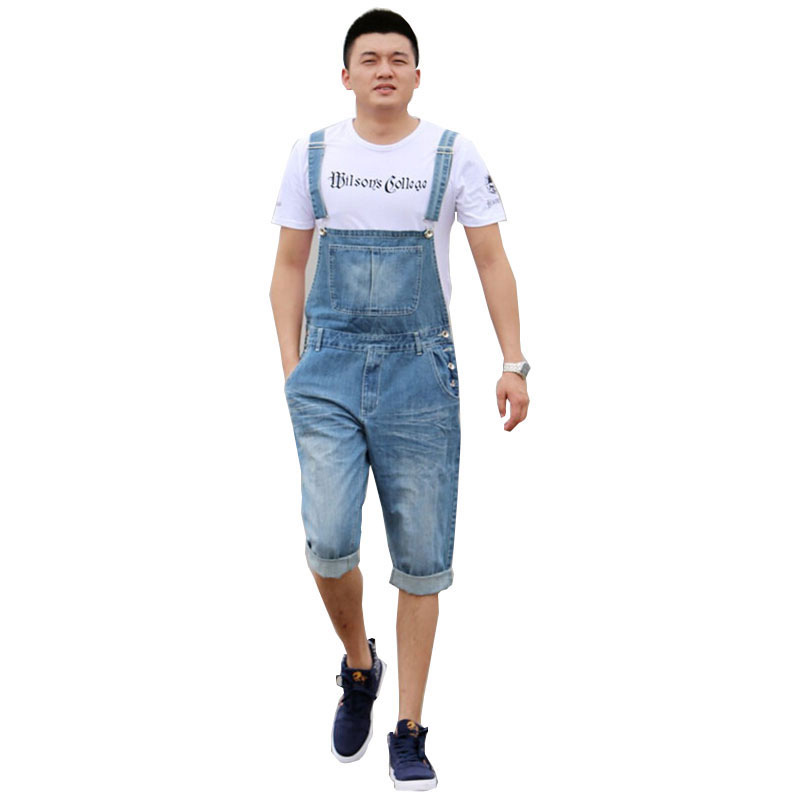 2018 Summer Men's Casual Loose Denim Jumpsuits Overalls Bib Pants Light Blue Cargo Pants Plus Size Gardener Capris Size XS-5XL