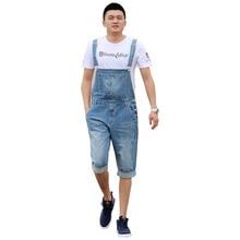 2018 Summer Men's Casual Loose Denim jumpsuits overalls bib pants light blue cargo pants plus size gardener capris size XS-5XL цена в Москве и Питере