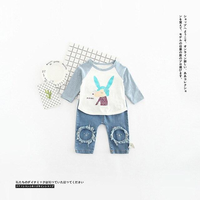 Маленькие дети одежда весна новый улыбаясь наклейки печатных джинсы возраст от 0-3 Т
