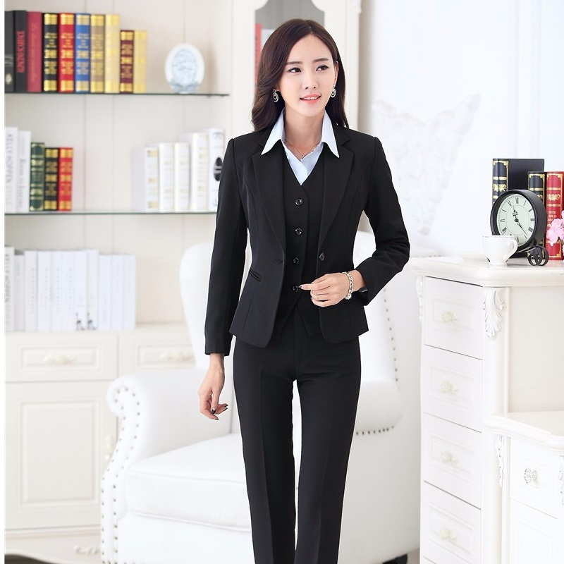 Formal Women Suits with Pant Blazer Vest Set Womens Business Suits Office Uniform Style