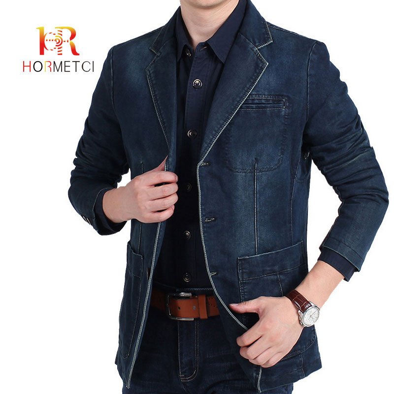 HORMETCI 2019 High Quality Men's Clothing Autumn Casual Denim Blazers Loose Large Size Youth Suit Jacket Long Section Coats