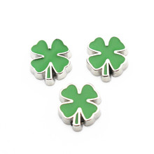 10 шт./лот Зеленый Клевер незакрепленные шармы, подходящие для живые стеклянные плавающие медальоны браслет с медальоном амулеты «сделай сам» ювелирные изделия