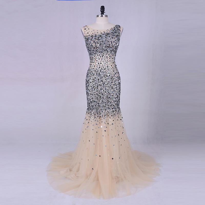 Robe de soirée de luxe 2019 LORIE Argent Gris Cristaux Perles Tulle Longue Robes De Bal Sexy Femmes Champagne Robe De Fête