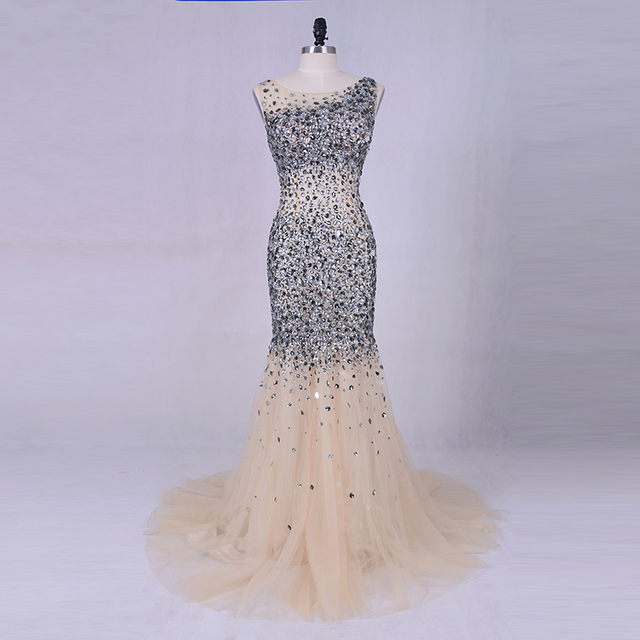 Luxury Evening Dress 2019 LORIE Silver Grey Crystals Beading Tulle Long Prom Dresses Sexy Women Champagne Party Dress