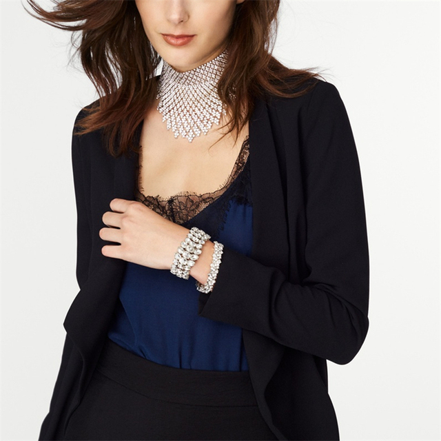 Jewdy Rhinestone Choker Luxury Statement Wedding Chocker Big Tassel Necklace For Women Flower Collier 2017 Fashion Jewellery 3