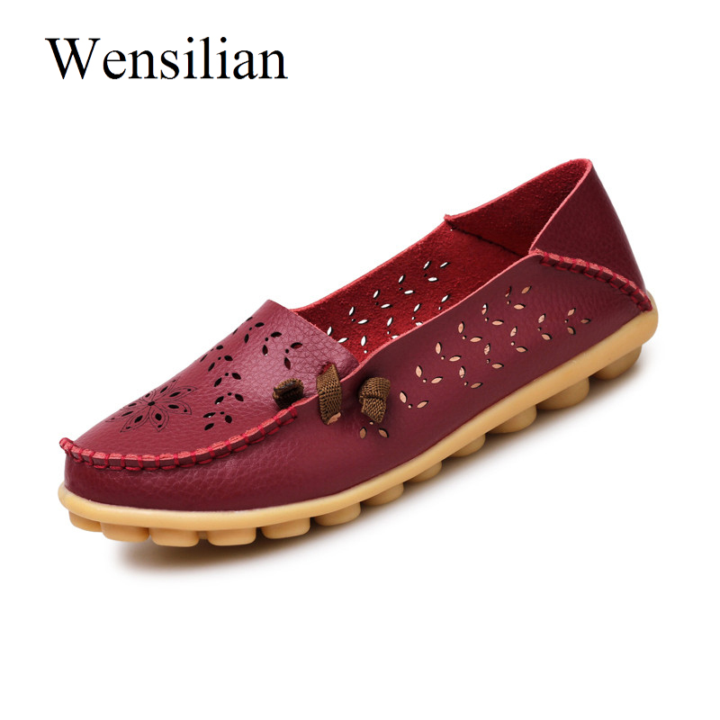 Summer Moccasins Flat Shoes Women Genuine Leather Shoes Flower Soft Folding Loafers Slip On Ladies Casual Shoes Zapatos Mujer de la chance women fashion platform shoes genuine leather slip on casual shoes loafers flatform wedge shoes skate ladies shoes