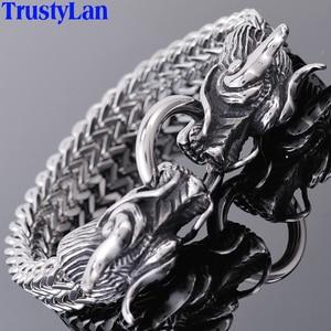 Image 1 - TrustyLan pulsera de doble cabeza de dragón para hombre, brazalete de la amistad, Punk Rock, joyería de acero inoxidable para hombre, 2018