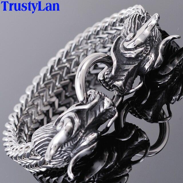 TrustyLan pulsera de doble cabeza de dragón para hombre, brazalete de la amistad, Punk Rock, joyería de acero inoxidable para hombre, 2018