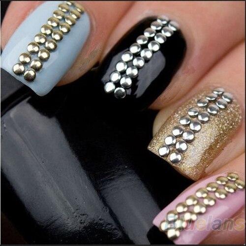 500 шт./пакет 2 мм 3 мм 5 мм 6 мм 3D дизайн ногтей стразами декоративные наклейки металлическими шипами золото и серебро стад продажа 0417
