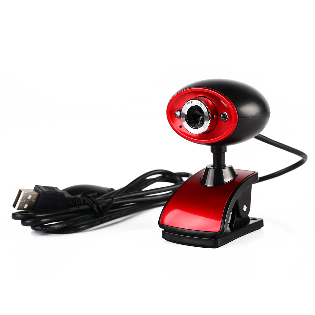 High Definition HD USB 16MP Digital Webcam Web Camera with MIC Built-in Microphone for PC Computer Laptop Tablet Black+Red