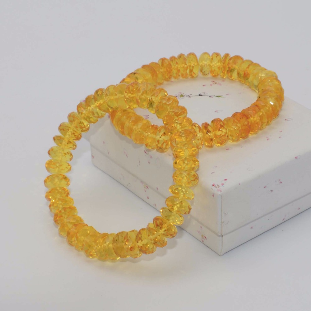 Genuine Natural Baltic Amber Faceted Rondelle Beads Bracelet 11mm