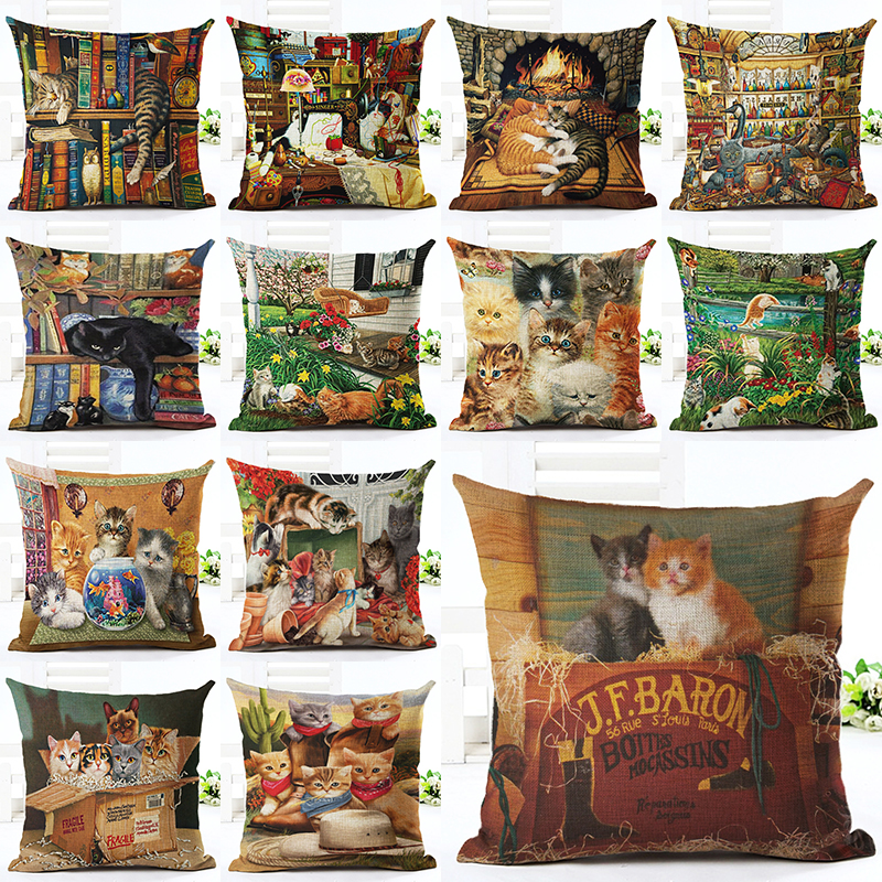 2016 New Arrived Western Style Cute Animal Pillow Almofadas Linen Pillow Decorative Linen Cushion Without Filling