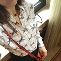 EQ 100% silk women cute zebra animal print shirt equipment lady loose blouses spring autumn