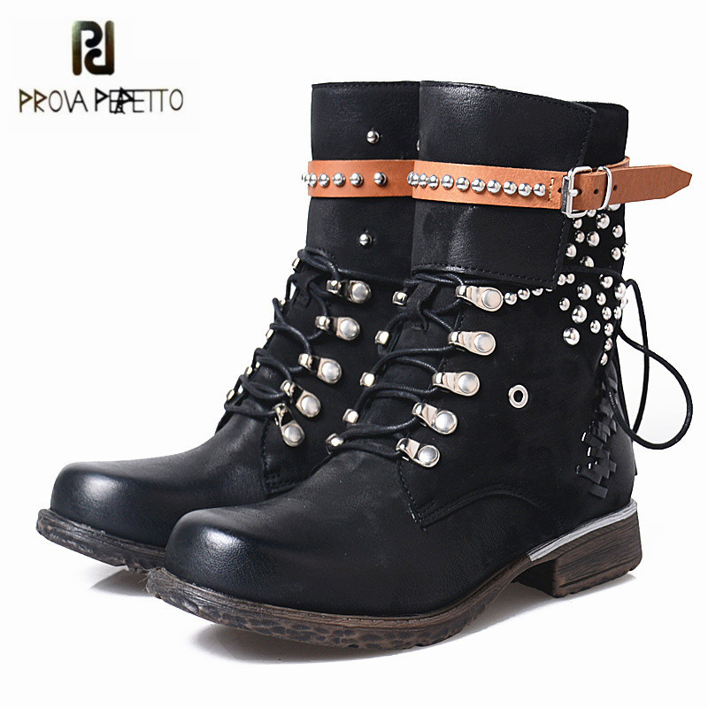 Prova Perfetto Black Ankle Boots for Women Rivets Studded Genuine Leather Martin Boot Autumn Winter Female Platform Rubber Boots prova perfetto black handmade women genuine leather mid calf boots buckle straps martin boots women platform rubber shoes woman