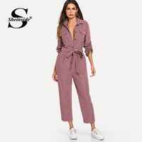 Sheinside Pink Casual Button Detail Shirt Jumpsuit Women 2019 Roll Up Sleeve Tapered Jumpsuits Mid Waist Belted Tooling Jumpsuit