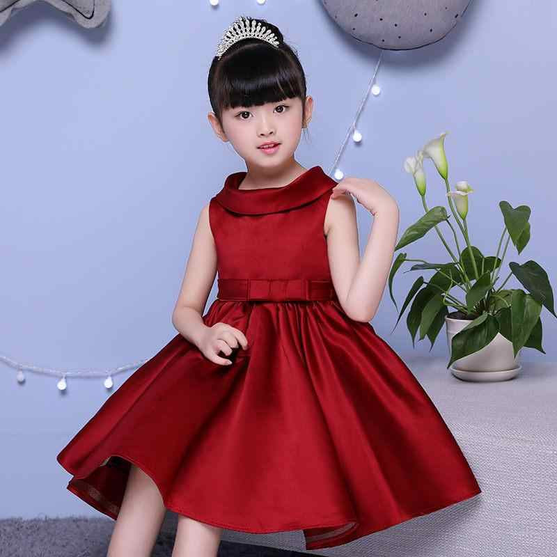 712381213fe ... 2019 Kids Girl Bowknot Princess Party Prom Ball Gown Teen Girl Pleated  Solid Wedding Vestido Children ...