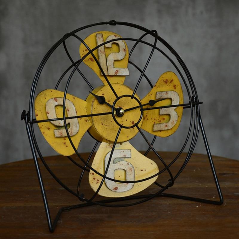 Américain rétro artisanat Vertical ventilateur modèle Bar bureau caractère horloge accessoires décoration maison cadeau accessoires 26*27*9 cm - 3
