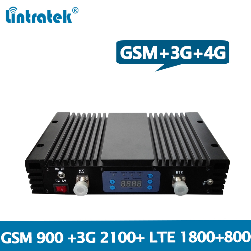 Amplificateur de signal à quatre bandes Lintratek 900 1800 2100 800 Mhz GSM 2G 3G 4G répéteur Band1/3/20 amplificateur 27dBm 75dB gain élevé