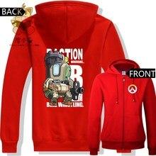 Weihnachtsgeschenk für spiel fans warme hoodies rot warm hoodies OW spiel charakter BASTION schöne hoodies