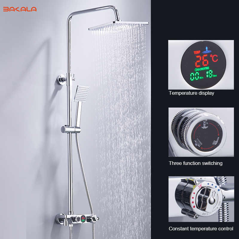 BAKALA Digital Display Shower Set Intelligent Thermostatic Brass Faucet Smart Rain Wall Waterfall Temperature Shower Faucets china sanitary ware chrome wall mount thermostatic water tap water saver thermostatic shower faucet