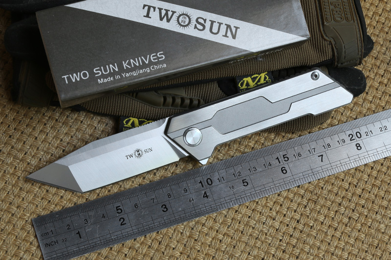 TWO SUN TS38 D2 blade tactical ball brearing folding knife titanium camping hunting Pocket knives outdoor Survival EDC Tools usb flash drive 64gb elari smartdrive usb 3 0