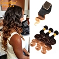 Originea TM Ombre Peruvian Hair With Closure 1B/4/27 Blonde Peruvian Virgin Hair Ombre With Closure Ombre Human Hair
