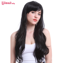 L-email wig 70cm/27.6inches Long Women Wigs Black and Dark Brown Wave Heat Resistant Synthetic Hair Perucas Wig for Black Women