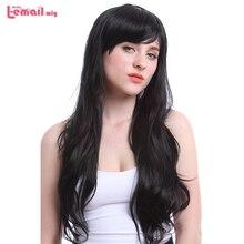 цены на L-email wig 70cm/27.6inches Long Women Wigs Color Black Brown Wave Heat Resistant Synthetic Hair Perucas Wig for Black Women  в интернет-магазинах