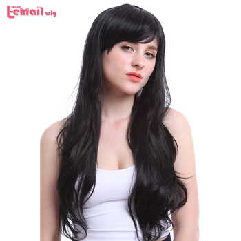 L-email wig 70cm/27.6inches Long Women Wigs Black and Dark Brown Wave Heat Resistant Synthetic Hair Perucas Wig for Black Women - DISCOUNT ITEM  25% OFF Hair Extensions & Wigs